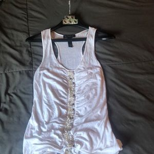 White INC tank top with pearl accents